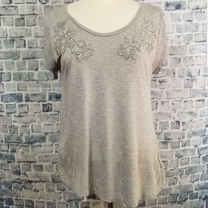 H&M Heather Gray Short Sleeve Silver Detail Top M